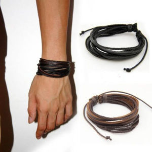 Leather & Cord Multi-Bracelet - Brown or Black